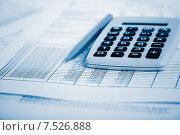 Купить «Финансовые таблицы, калькулятор и ручка. Малая глубина резкости», фото № 7526888, снято 17 апреля 2015 г. (c) Валерия Потапова / Фотобанк Лори