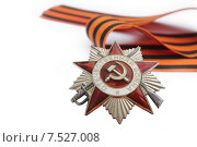 Орден Отечественной войны с георгиевской лентой на белом фоне. Стоковое фото, фотограф Metzlof / Фотобанк Лори