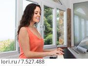 Купить «Female musician playing sequencer», фото № 7527488, снято 15 августа 2018 г. (c) Яков Филимонов / Фотобанк Лори