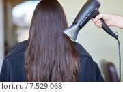 Купить «stylist hand with fan dries woman hair at salon», фото № 7529068, снято 15 февраля 2015 г. (c) Syda Productions / Фотобанк Лори