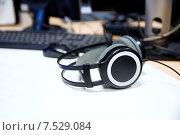 Купить «headphones at recording studio or radio station», фото № 7529084, снято 8 апреля 2015 г. (c) Syda Productions / Фотобанк Лори