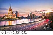 Купить «Вечер над гостиницей Evening over the hotel», фото № 7531652, снято 6 июня 2015 г. (c) Baturina Yuliya / Фотобанк Лори