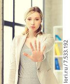 Купить «woman making stop gesture», фото № 7533192, снято 17 июня 2019 г. (c) Syda Productions / Фотобанк Лори