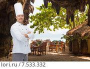 Купить «happy male chef cook with crossed hands», фото № 7533332, снято 7 марта 2015 г. (c) Syda Productions / Фотобанк Лори
