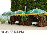 Купить «Летние кабинки ресторана Сосруко. Нальчик», фото № 7535932, снято 9 июня 2015 г. (c) KSphoto / Фотобанк Лори