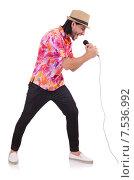 Купить «Man in colourful shirt isolated on white», фото № 7536992, снято 22 ноября 2013 г. (c) Elnur / Фотобанк Лори