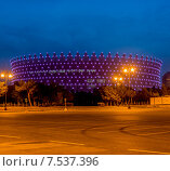Купить «BAKU - MAY 10, 2015: Heydar Aliyev Sports Complex on May 10 in BAKU, Azerbaijan. Baku Azerbaijan will host the first European Games», фото № 7537396, снято 10 мая 2015 г. (c) Elnur / Фотобанк Лори