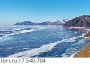 Купить «Замерзшее озеро Байкал. Вид сверху на ледовые поля», фото № 7540704, снято 9 марта 2015 г. (c) Виктория Катьянова / Фотобанк Лори