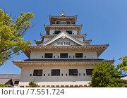 Купить «Главная башня (донжон) замка Имабари (построен в 1604, реконструирован в 1980 г.) в г. Имабари, о. Сикоку, Япония», фото № 7551724, снято 21 мая 2015 г. (c) Иван Марчук / Фотобанк Лори