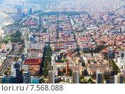 Купить «Aerial view of residence district in Barcelona», фото № 7568088, снято 1 августа 2014 г. (c) Яков Филимонов / Фотобанк Лори
