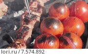 Купить «Приготовление шашлыков с томатами», видеоролик № 7574892, снято 17 июня 2015 г. (c) Потийко Сергей / Фотобанк Лори