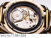 Купить «Механизм старых наручных часов», фото № 7581024, снято 8 апреля 2015 г. (c) Евгений Ткачёв / Фотобанк Лори