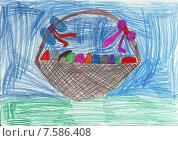 Пасхальный детский рисунок. Стоковая иллюстрация, иллюстратор Светлана Самаркина / Фотобанк Лори
