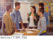 Купить «Business people during a meeting», фото № 7591152, снято 22 марта 2015 г. (c) Wavebreak Media / Фотобанк Лори