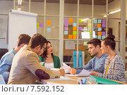 Купить «Business people during a meeting», фото № 7592152, снято 22 марта 2015 г. (c) Wavebreak Media / Фотобанк Лори