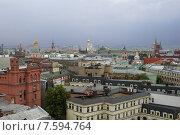 Панорамный вид сверху на Московский Кремль и городские крыши (2015 год). Стоковое фото, фотограф Малахов Алексей / Фотобанк Лори