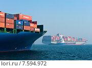 Купить «Груженые контейнеровозы, стоящие на якоре на рейде в бухте Находка», фото № 7594972, снято 19 апреля 2014 г. (c) Владимир Серебрянский / Фотобанк Лори