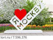 """Купить «Стела с словами """"Я люблю Москву"""" в Коломенском парке», фото № 7596376, снято 14 мая 2015 г. (c) Роман Лысогор / Фотобанк Лори"""
