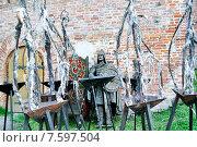 Купить «Скульптура варяжского дружинника и штативы для поддержания огня. Новгородский кремль», фото № 7597504, снято 2 июня 2015 г. (c) Зезелина Марина / Фотобанк Лори