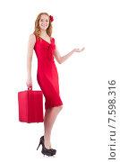 Купить «Pretty young girl in red dress holding trunk isolated on white», фото № 7598316, снято 4 декабря 2013 г. (c) Elnur / Фотобанк Лори