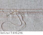 Купить «Мережка - строчевая, сквозная вышивка на льняной ткани с выдернутыми нитями», фото № 7610216, снято 26 июня 2015 г. (c) Виктория Катьянова / Фотобанк Лори
