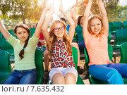 Купить «Дети болеют за свою команду на трибуне стадиона», фото № 7635432, снято 10 мая 2015 г. (c) Сергей Новиков / Фотобанк Лори