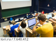 Купить «Студенты на лекции в университете», фото № 7640412, снято 3 сентября 2019 г. (c) Matej Kastelic / Фотобанк Лори