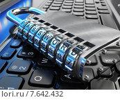 Купить «Internet security concept. Laptop and safe lock with password.», фото № 7642432, снято 23 мая 2019 г. (c) Maksym Yemelyanov / Фотобанк Лори