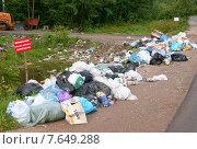 Куча мусора у дороги (2013 год). Редакционное фото, фотограф Андрей Кудряшов. / Фотобанк Лори
