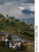 High angle view of a town, Chokhor Valley, Bumthang District, Bhutan (2010 год). Стоковое фото, фотограф Keith Levit / Ingram Publishing / Фотобанк Лори