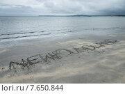 Text written in sand on beach, Shallow Bay, Gros Morne National Park, Newfoundland and Labrador, Canada. Стоковое фото, фотограф Keith Levit / Ingram Publishing / Фотобанк Лори