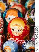 Купить «Красочные русские матрешки», фото № 7655904, снято 18 августа 2013 г. (c) g.bruev / Фотобанк Лори