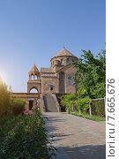 Купить «Церковь Святой  Рипсиме в вечернем свете , Эчмиадзин», фото № 7665676, снято 12 июля 2015 г. (c) Emelinna / Фотобанк Лори