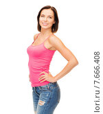 Купить «woman in blank pink tank top», фото № 7666408, снято 25 июля 2013 г. (c) Syda Productions / Фотобанк Лори