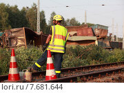 Купить «Hosena, Germany, Eisenbahnunglueck in Brandenburg, the THW staff ensures the accident site», фото № 7681644, снято 27 июля 2012 г. (c) Caro Photoagency / Фотобанк Лори