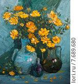 Купить «Желтые садовые розы», иллюстрация № 7689680 (c) олеся тарасова / Фотобанк Лори