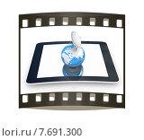 Высокоскоростной мобильный интернет. Антенна и земной шар на планшетном компьютере. Слайд на белом фоне. Стоковая иллюстрация, иллюстратор Guru3d / Фотобанк Лори