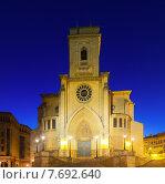 Albacete Cathedral in evening. Castile-La Mancha, Spain (2014 год). Стоковое фото, фотограф Яков Филимонов / Фотобанк Лори