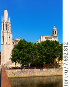 Купить «Collegiate Church and Gothic Cathedral from river. Girona», фото № 7692812, снято 12 июня 2014 г. (c) Яков Филимонов / Фотобанк Лори