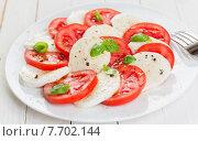 Купить «Italian Caprese salad with tomato and mozzarella», фото № 7702144, снято 21 октября 2018 г. (c) PantherMedia / Фотобанк Лори