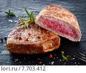 Купить «Two portions of lean trimmed grilled beef steak», фото № 7703412, снято 18 июля 2019 г. (c) PantherMedia / Фотобанк Лори