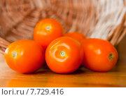 Купить «Оранжевые помидоры рядом с корзинкой», фото № 7729416, снято 18 июля 2015 г. (c) Екатерина Овсянникова / Фотобанк Лори