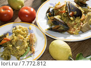 Купить «valenciana paella with some of its traditional ingredients or rather fish vegetable and meat», фото № 7772812, снято 19 марта 2019 г. (c) PantherMedia / Фотобанк Лори