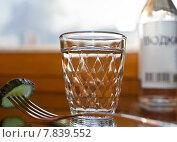 Купить «Стакан водки на столе с огурцом и бутылкой», фото № 7839552, снято 15 июля 2015 г. (c) Элина Гаревская / Фотобанк Лори