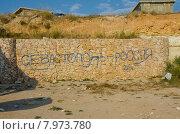 """Купить «""""Севастополь - Россия"""" - надпись на каменной стене», фото № 7973780, снято 25 июля 2014 г. (c) Ирина Балина / Фотобанк Лори"""