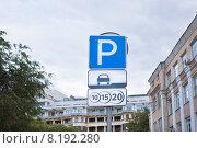 Купить «Дорожный знак платной парковки», фото № 8192280, снято 23 июля 2015 г. (c) Victoria Demidova / Фотобанк Лори
