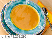 Купить «plate spoon soup broth karottensuppe», фото № 8268296, снято 24 апреля 2018 г. (c) PantherMedia / Фотобанк Лори