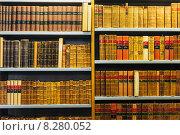 Купить «Старые книги стоят на полках стеллажа в библиотеке», фото № 8280052, снято 28 июля 2014 г. (c) g.bruev / Фотобанк Лори