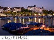 Купить «Zurich, Switzerland, Evening at Limmatquai, right, the Hotel Europe», фото № 8294420, снято 6 октября 2009 г. (c) Caro Photoagency / Фотобанк Лори