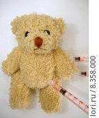 Купить «pen bear syringe injection teddy», фото № 8358000, снято 27 марта 2019 г. (c) PantherMedia / Фотобанк Лори